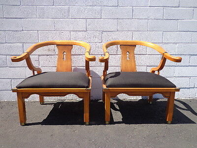 Pair of Chairs Ming James Mont Century Chinese Chippendale Regency Armchair Boho