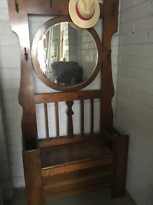 Antique Hall Stand With Oval Mirror Restoration Required 100 00