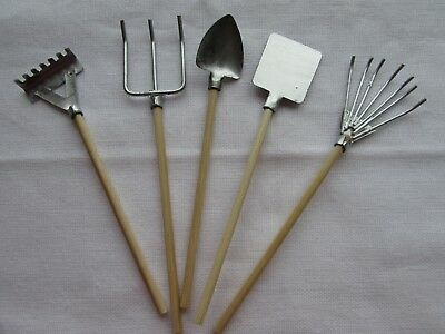 Pack of 5 Miniature Garden Tools Fairy Gardens, Dolls Houses, Embellishments
