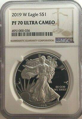2019-W NGC PF70 PROOF Silver Eagle  BROWN Label PF 70 ~ LIVE ~