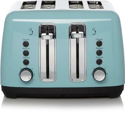Blue 4 Slice Toaster Duck Egg Stainless Steel 7 Settings Kitchen Home Decoration