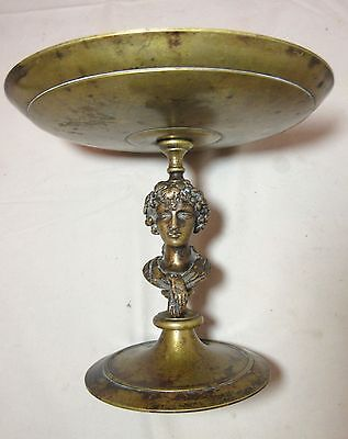 antique 19th century figural Austrian bronze compote centerpiece dish bowl brass