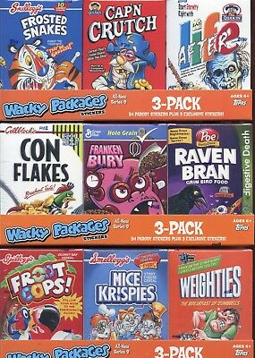 Wacky Packages Stickers Series Nine Cereal Card Box Collection