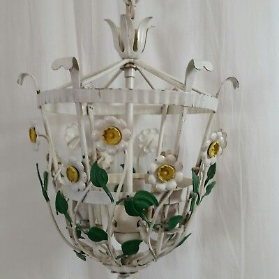 Vintage Floral Metal Chandelier Shabby Chic French Country