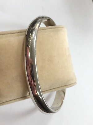 Beautiful Solid Sterling Silver 925 MEXICO Plain Polished Bangle Bracelet