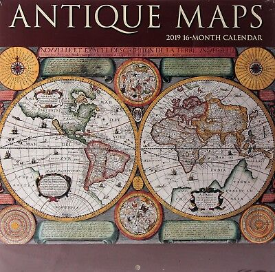 "2019 Antique Maps 12"" x 12"" Wall Calendar New / Sealed"