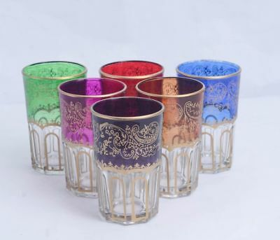 Moroccan Tea Glasses (Set of 6) cups Multi-design handcrafted style Tea Set Cup