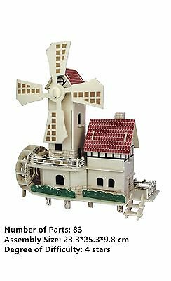 New Assembly DIY Education Toys 3D Wooden Model Puzzles Windmill House