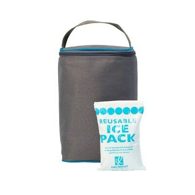 New J.L Childress Tall Two-Cool 2-Bottle Cooler Grey / Teal Free Express Shippin