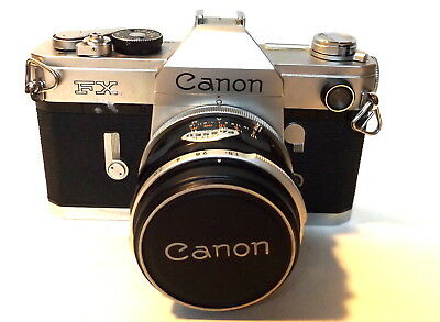 Vintage Canon FX, 35mm SLR Film Camera  with Case and Carry Strap, untested