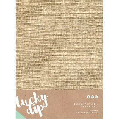 NEW Kaisercraft Lucky Dip Burlap Pad 10 Sheets By Spotlight