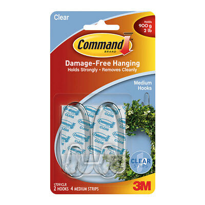 NEW 3M Command Medium Clear Hooks By Spotlight