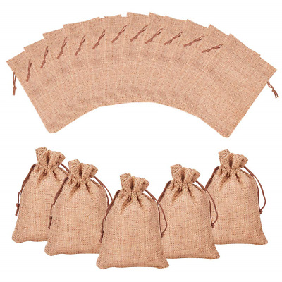 NBEADS 100PCS Drawstring Burlap Gift Bags Wedding Sacks Jewelry Pouch Party Bags