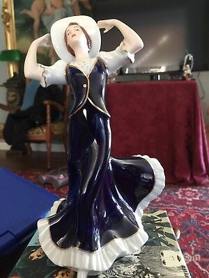 Antique Royal Dux Lady With Hat Beautiful Cobalt Blue Dress Excellent Detail