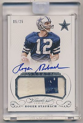 ROGER STAUBACH 2015 Panini Flawless Greats AUTO JERSEY PATCH /25 COWBOYS HOF**