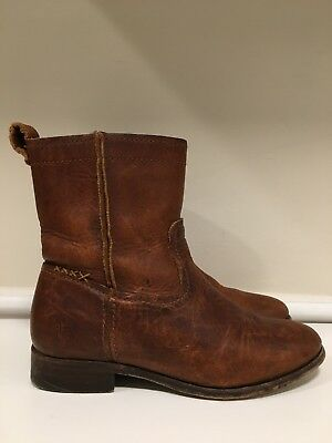 aba7c20e8db FRYE CARA SHORT Cognac Brown Leather Pull On Ankle Boots Women's Size 6 B