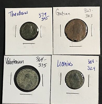 Group Lot of 4 Identified All Different Ancient ROMAN Emperors Coins 308-395 AD