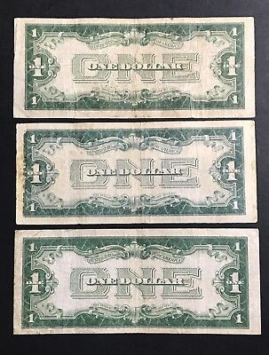 LOT OF 3- 1928 SILVER CERTIFICATE *FUNNY BACK NOTES* Old US Currency .99 Start
