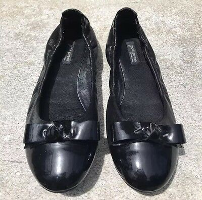 6528bceb108 PAUL GREEN Black Patent Leather Cap Toe Ballet Flats Slip On Knot Bow UK4.5
