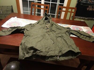 VTG 1940's WW2 WWII USN US Navy Green Parka Wet Weather Lace Up Pullover XL