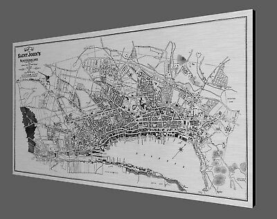 "1932 Antique Map - St Johns NEWFOUNDLAND - Brushed Aluminum print - 40"" x 20"""
