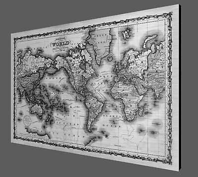 "Antique World Map - 1861 - Metal Print on Brushed Aluminum - 40"" x 27"""