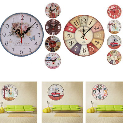 Hot Home Kitchen Office Wood Wall Clock Vintage Style Non-Ticking Silent Clock