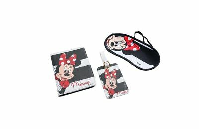 Disney Minnie Mouse Travel Set Blindfold Passport Cover &  Name ID Tag