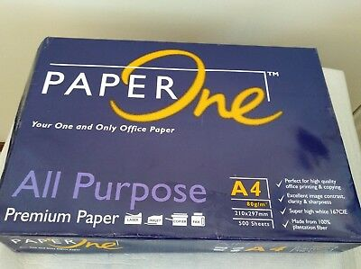 PAPER ONE White A4 Premium 80 GSM 500 sheets Australian Paper x 1 Ream paper
