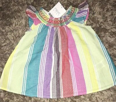 Bnwt Next Baby Girls Stripe Rainbow Dress Tunic Upto 3 Months Newborn Pink Red