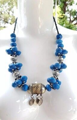 Stunning Blue & Silver Ethnic Hirz Amulet Necklace Jewellery .C27
