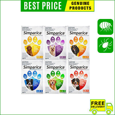 SIMPARICA for Dogs All Sizes Flea and Tick treatment 6 Chews by Zoetis