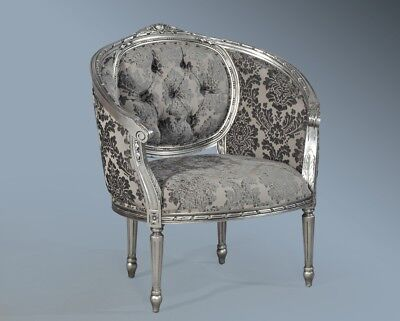 Antique Silver Leaf Grey French Ornate Statement Throne Tub Arm Chair Loveseat