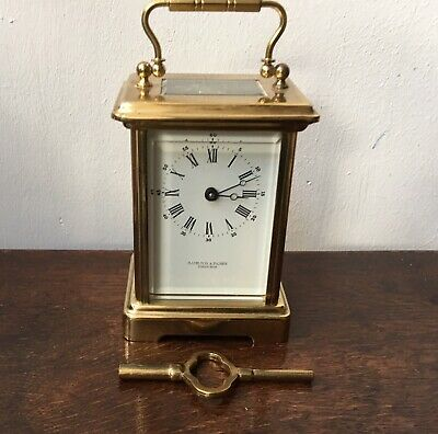 Fine French Brass Carriage Clock for Hamilton & Inches Edinburgh, Going & Key