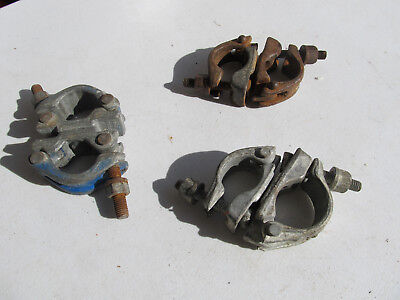 "Lot of 3 Scaffolding Forged Couplers Clamp Fittings 1-1/2"" and 1 1/2-2"" diameter"