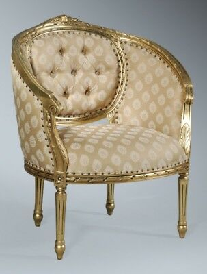 Statement Antique Gold Leaf Ornate French Single Loveseat Throne Tub Arm Chair