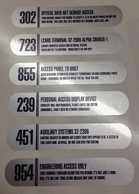 • Star Trek • Silver Foil Gndn Lcars Prop Replica Label Decals • Set Of Six