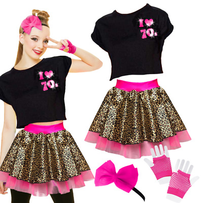 Girls 80's Costume 70's TOP or Leopard Print SKIRT fancy dress Costume NEON UK
