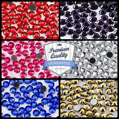 1 1000 10000 pack Quality Hotfix Iron on or Glue Rhinestone Diamante Colours AAA