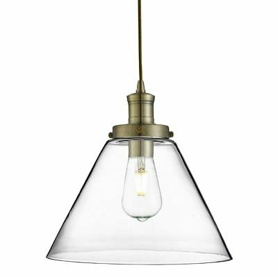 Pyramid 1 Light Pendant Antique Brass, Clear Pyramid Glass Shade 3228Ab