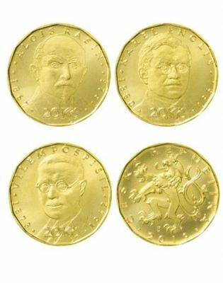 20 Korun 2019 Czech Republic UNC set of 3 RARE coins (Rasin, Englis, Pospisil)