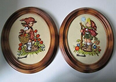 Hummel Needlepoint Oval Framed Pictures Vintage 1980's Set Of 2