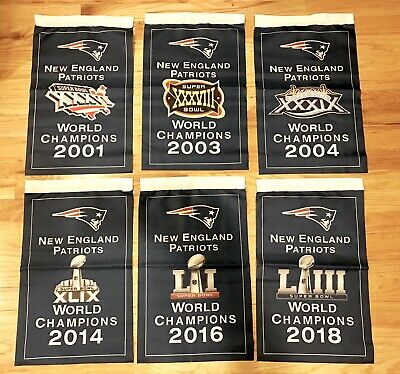 NEW- New England Patriots NFL Super Bowl Champions 6 Banner Set 6x Champs 12x18