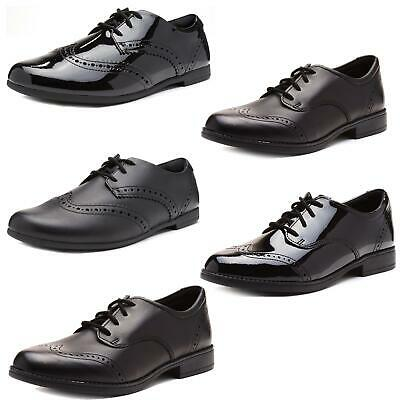 Clarks Sami Walk Kids Back to School Lace Up Brogue Leather Shoes Black & Patent
