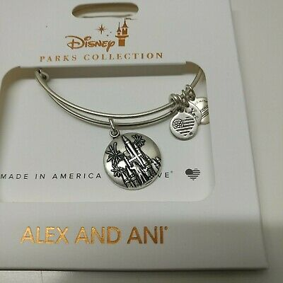 Disney Parks Cinderella Castle Bangle by Alex and Ani in Silver Finish NEW