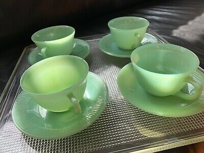 Vintage 1950's Fire-King Jadeite Cups & Saucers • Set of 4 • OVEN WARE