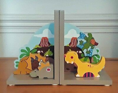 Pair Cute Dinosaur Wooden Book Ends Bookend Children Boy Gift Bedroom Tidy New