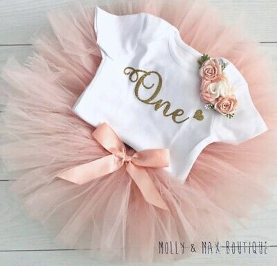 Luxury Girls 1st First Birthday Tutu Skirt Outfit Cake Smash Blush Gold Minnie