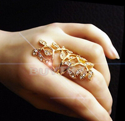 1/2X Fashion Women's Plated Crystal  Leaf Above Knuckle Finger Ring Set Nice HIC