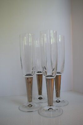 Set of 4 Crystal Champagne Flutes with Silver Plated Stems - Modern Deco